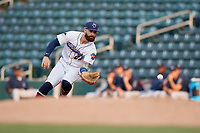Jacksonville Jumbo Shrimp first baseman John Silviano (22) fields a ground ball during a Southern League game against the Mobile BayBears on May 28, 2019 at Baseball Grounds of Jacksonville in Jacksonville, Florida.  Mobile defeated Jacksonville 2-1.  (Mike Janes/Four Seam Images)