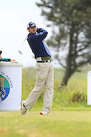 Paraic Connolly (Killeen Castle) on the 1st tee during Round 1 of the Irish Amateur Close Championship at Seapoint Golf Club on Saturday 7th June 2014.<br /> Picture:  Thos Caffrey / www.golffile.ie