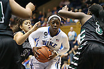 14 November 2013: Duke's Alexis Jones (in white) is defended by USC Upstate's Toni Romiti (21), Valese McAllister (left), and Travonda Haddock (3). The Duke University Blue Devils played the University of South Carolina Upstate Spartans at Cameron Indoor Stadium in Durham, North Carolina in a 2013-14 NCAA Division I Women's Basketball game. Duke won the game 123-40.