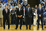 17 February 2016: Duke head coach Mike Krzyzewski (left) with his staff (from left): Jeff Capel, Nate James, Jon Scheyer. The University of North Carolina Tar Heels hosted the Duke University Blue Devils at the Dean E. Smith Center in Chapel Hill, North Carolina in a 2015-16 NCAA Division I Men's Basketball game. Duke won the game 74-73.