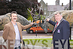 Killarney Mayor Sean Counihan and Artist Don Cronin unavailing his sculpture dedicated to the Red Deer in Fairhill, Killarney on Saturday..