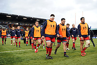 Worcester Warriors players leave the field after the match. Aviva Premiership match, between Saracens and Worcester Warriors on December 30, 2017 at Allianz Park in London, England. Photo by: Patrick Khachfe / JMP