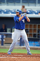 Dunedin Blue Jays first baseman Rowdy Tellez (8) at bat during a game against the Charlotte Stone Crabs on July 26, 2015 at Charlotte Sports Park in Port Charlotte, Florida.  Charlotte defeated Dunedin 2-1 in ten innings.  (Mike Janes/Four Seam Images)