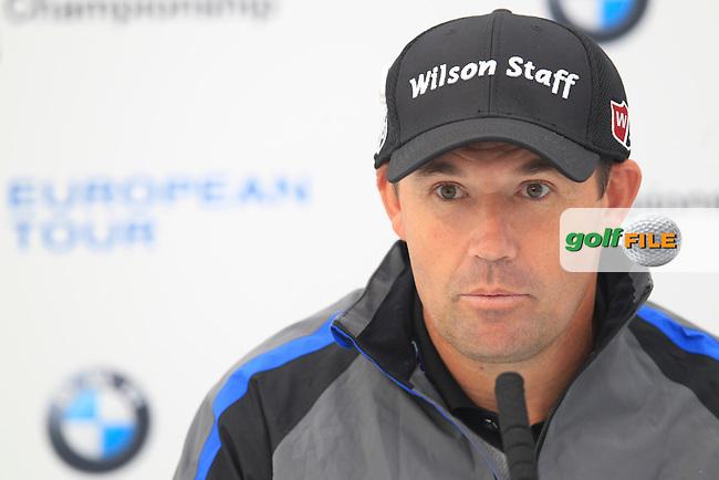 Padraig HARRINGTON (IRL) speaking ahead of the 2015 BMW PGA Championship. Wentworth Golf Club, Virginia Water, Surrey, UK. 20/05/2015.<br />  Picture Fran Caffrey, www.golffile.ie