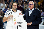 Felipe Reyes of Real Madrid receive the award for the record of matches played in the Liga Endesa during Liga Endesa match between Real Madrid and Kirolbet Baskonia at Wizink Center in Madrid Spain. February 10, 2019. (ALTERPHOTOS/Borja B.Hojas)