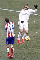 Atletico de Madrid's Gabi Fernandez (l) and Real Madrid's Karim Benzema during La Liga match.February 7,2015. (ALTERPHOTOS/Acero) /NORTEphoto.com