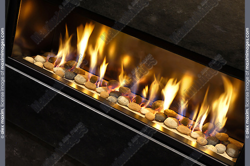 Contemporary high-tech natural gas fireplace