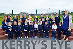 Junior infants in St Brendans NS in Blennerville on Friday standing with their teacher Edel O'Sullivan  and Denise Shanahan (Special Needs Assistant).