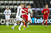 29th November 2019; Liberty Stadium, Swansea, Glamorgan, Wales; English Football League Championship, Swansea City versus Fulham; Mike van der Hoorn of Swansea City and Josh Onomah of Fulham challenge for the ball   - Strictly Editorial Use Only. No use with unauthorized audio, video, data, fixture lists, club/league logos or 'live' services. Online in-match use limited to 120 images, no video emulation. No use in betting, games or single club/league/player publications