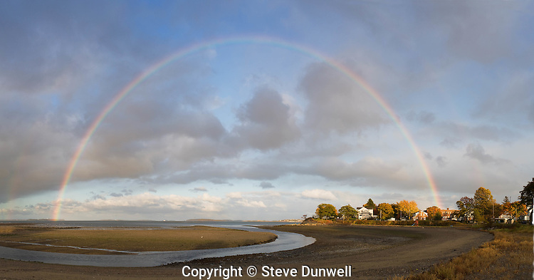 Rainbow panorama, Wollaston beach, Quincy, MA