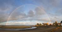 Rainbow panorama, Wollaston beach, Quincy, MA