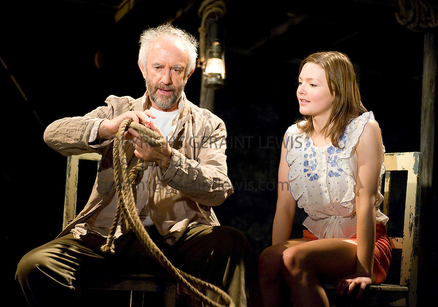 Dimetos by Athol Fugard,directed by Douglas Hodge.With Jonathan Pryce as Dimetos,Holliday Granger as Lydia.Opens at The Donmar Warehouse Theatre on 25/3/09.  Credit Geraint Lewis