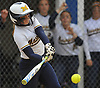 Darby Pandolfo #11, Massapequa catcher, belts a two-run single in the top of the fourth inning of Game 2 of the Nassau County varsity softball Class AA semifinals against host East Meadow High School on Tuesday, May 17, 2016.