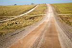 Unsurfaced road track crossing chalk landscape scenery near Chitterne, Salisbury Plain, Wiltshire, England, UK