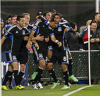 SANTA CLARA, CA - April 6, 2013: Alan Gordon (24), Chris Wondolowski (8) and teammates celebrate Wondo's goal during the San Jose Earthquakes vs Vancouver Whitecaps FC game at Buck Shaw Stadium in Carson, California. Final score San Jose Earthquakes 1, Vancouver Whitecaps FC 1.