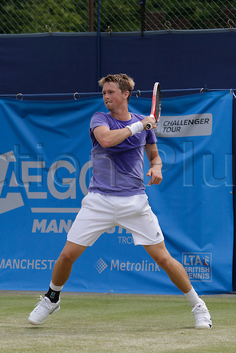 05.06.2015.  Manchester, England. Aegon Manchester Trophy.  Josh Milton (GB) in quarter final action versus Rajeev Ram (USA). Ram won in straight sets 7-5, 6-2.