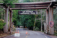 Main Nisqually Road Entry at Mount Rainier National Park. Longest closure in Park history from November 6, 2006 due to extensive, record flooding and windstorm damage throughout the Park. Washington State.....Photographed on digital media.