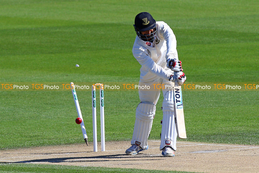 Ajmal Shahzad of Sussex is bowled out by Jamie Porter during Sussex CCC vs Essex CCC, Specsavers County Championship Division 2 Cricket at The 1st Central County Ground on 18th April 2016