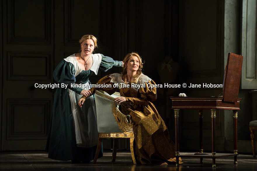 London, UK. 14.09.2013. The Royal Opera presents LE NOZZE DI FIGARO, by Wolfgang Amadeus Mozart, at the Royal Opera House. Directed by David McVicar, Conducted by John Eliot Gardiner, set and costume design by Tanya McCallin and lighting design by Paule Constable. Picture shows:  Lucy Crowe (Susanna) and Maria Bengtsson (Countess Almaviva). Photograph by kind permission of The Royal Opera House © Jane Hobson.