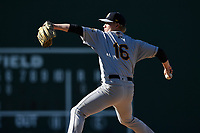 Starting pitcher Nick Nelson (16) of the Charleston RiverDogs delivers a pitch in a game against the Greenville Drive on Sunday, April 29, 2018, at Fluor Field at the West End in Greenville, South Carolina. Greenville won, 2-0. (Tom Priddy/Four Seam Images)