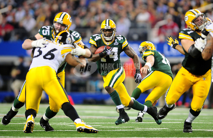 Feb 6, 2011; Arlington, TX, USA; Green Bay Packers running back James Starks (44) runs with the ball against the Pittsburgh Steelers during the first half of Super Bowl XLV at Cowboys Stadium.  Mandatory Credit: Mark J. Rebilas-