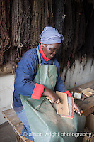 Africa, Swaziland, Malkerns. Nest organization artisan project, partnering with Coral Stephens handweaving workshop. Women carding wool.