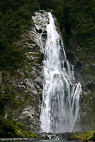 Waterfall at Milford Sound, New Zealand