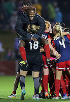 Boyds, MD - Friday Sept. 30, 2016: Kelsey Wys, Francisca Ordega celebrate after a National Women's Soccer League (NWSL) semi-finals match between the Washington Spirit and the Chicago Red Stars at Maureen Hendricks Field, Maryland SoccerPlex. The Washington Spirit won 2-1 in overtime.