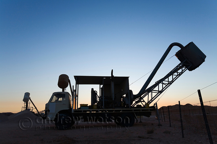 A blower (truck used to extract dirt from underground mines) in the Coober Pedy opal fields.  Coober Pedy, South Australia, AUSTRALIA.