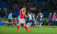 Gareth Bale of Wales looks dejected at full time of the FIFA World Cup Qualifying match between Wales and Serbia at the Cardiff City Stadium, Cardiff, Wales on 12 November 2016. Photo by Mark  Hawkins.