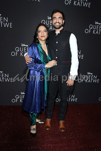 "20 September 2016 - Hollywood, California - Mira Nair ans son Zohran Mamdani. ""Queen Of Katwe"" Los Angeles Premiere held at the El Capitan Theater in Hollywood. Photo Credit: AdMedia"