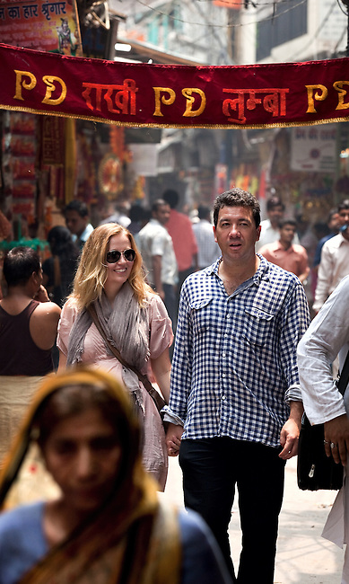 Australian fashion designer Fleur Wood with her husband- former  BBC India correspondent Nick Bryant - in the heart of Old Delhi's gritty Kinari Bazaar, renowned for the wide variety of lace, trims and adornments that can be found in the hole- in- the -wall shops.