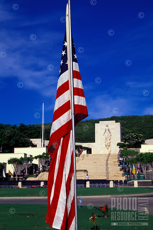 American flag at Punchbowl Memorial on the Island of Oahu