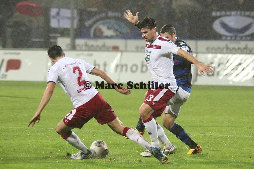 Florian Dick und Jan Simunek (FCK) verteidigen- FSV Frankfurt vs. 1. FC Kaiserslautern, Frankfurter Volksbank Stadion