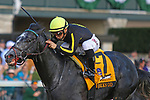 """October 06, 2018 : #7 Knicks Go and jockey Albin Jimenez win the105th running of The Claiborne Breeders' Futurity (Grade 1) $500,000 """"Win and You're In Breeders' Cup Juvenile Division"""" for trainer Ben Colebrook and owner KRA Stud Farm at Keeneland Race Course on October 06, 2018 in Lexington, KY.  Candice Chavez/ESW/CSM"""