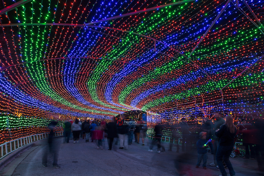 Entrance to the Zilker Park Trail of Lights, is made of hundreds of millions of colored lights
