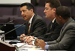 From left, Gov. Brian Sandoval, Assembly Speaker John Oceguera, D-Las Vegas, and Senate Majority Leader Steven Horsford, D-North Las Vegas, present a measure aimed at attracting businesses and jobs to Nevada, during a hearing at the Legislature in Carson City, Nev., on Monday, April 4, 2011.  .Photo by Cathleen Allison