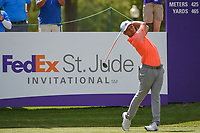 Xander Schauffele (USA) watches his tee shot on 10 during round 2 of the WGC FedEx St. Jude Invitational, TPC Southwind, Memphis, Tennessee, USA. 7/26/2019.<br /> Picture Ken Murray / Golffile.ie<br /> <br /> All photo usage must carry mandatory copyright credit (© Golffile | Ken Murray)