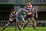 Jonathan Taumatiene moves in to tackle Malakai Fekitoa. The game of Three Halves, a pre-season warm-up game between the Counties Manukau Steelers, Northland and the All Blacks, played at ECOLight Stadium, Pukekohe, on Friday August 12th 2016. Photo by Richard Spranger.