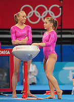 Aug. 7, 2008; Beijing, CHINA; Nastia Liukin (left) with teammate Shawn Johnson during womens gymnastics training prior to the Olympics at the National Indoor Stadium. Mandatory Credit: Mark J. Rebilas-