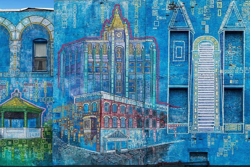 Wall mural depicting downtown Rutland, Vermont, USA.