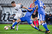 28th September 2017, Partizan Stadium, Belgrade, Serbia; UEFA Europa League group stage, Partizan versus Dynamo Kiev; Forward Ognjen Ozegovic of Partizan in action against Defender Domagoj Vida of Dynamo Kiev