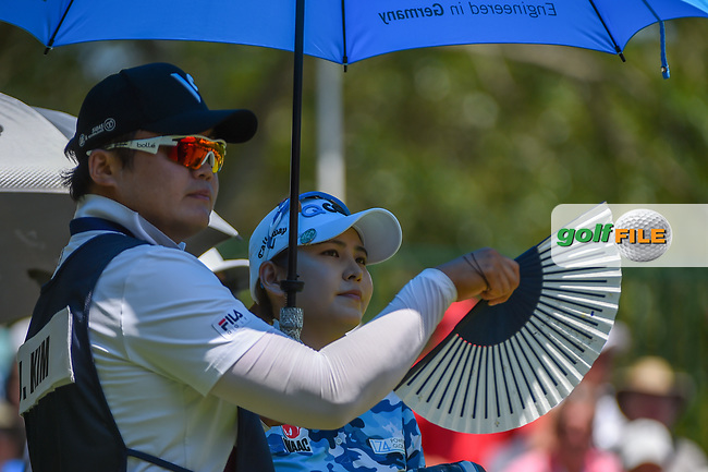 Jihyun Kim (KOR) stays cool on the first tee before round 3 of the U.S. Women's Open Championship, Shoal Creek Country Club, at Birmingham, Alabama, USA. 6/2/2018.<br /> Picture: Golffile | Ken Murray<br /> <br /> All photo usage must carry mandatory copyright credit (© Golffile | Ken Murray)