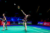 18th March 2018, Arena Birmingham, Birmingham, England; Yonex All England Open Badminton Championships; Yuki Fukushima (JPN) and Sayaka Hirota (JPN) in the womens doubles  final against Kamilla Rytter Juhl (DEN) and Christinna Pedersen (DEN)
