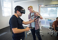 Ricardo Parada '18. CDLA's 360 Video Day on September 22, 2017 in the Varelas Innovation Lab in Johnson Hall.<br /> The CDLA (Center for Digital Liberal Arts) created the all-day program of events and speakers that surrounds the theory and practice of 360 images and video. Students could test out Vive, Oculus, and 360 cameras.<br /> (Photo by Marc Campos, Occidental College Photographer)