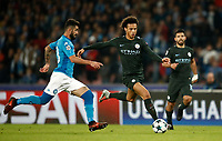 Football Soccer: UEFA Champions League Napoli vs Mabchester City San Paolo stadium Naples, Italy, November 1, 2017. <br /> Manchester City's Leroy San&eacute; (r) in action with Napoli's Elseid Hisaj (l) during the Uefa Champions League football soccer match between Napoli and Manchester City at San Paolo stadium, November 1, 2017.<br /> UPDATE IMAGES PRESS/Isabella Bonotto