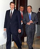 United States Senate Majority Leader Bill Frist (Republican of Tennessee), left, walks to a meeting of the Republican Leadership on the opening day of the 108th Congress with colleagues John Kyl (Republican of Arizona), center, and Mitch McConnell (Republican of Kentucky), right, in Washington, DC on January 6, 2003.<br /> Credit: Ron Sachs / CNP