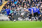04.11.2018, Sch&uuml;coArena / Schueco Arena, Bielefeld, Deutschland, GER, 2. FBL, DSC Arminia Bielefeld vs. FC St. Pauli<br /> <br /> DFL REGULATIONS PROHIBIT ANY USE OF PHOTOGRAPHS AS IMAGE SEQUENCES AND/OR QUASI-VIDEO.<br /> <br /> im Bild Zweikampf zwischen Sami Allagui (#11 St. Pauli) und Manuel Prietl (#19 Bielefeld), Stephan Salger (#11 Bielefeld), Julian B&ouml;rner / Boerner (#13 Bielefeld), Cedric Brunner (#27 Bielefeld)<br /> <br /> Foto &copy; nordphoto / Kurth