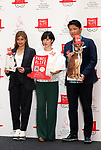"May 22, 2018, Tokyo, Japan - Japan's TV personality Christel Takigawa (C), model Rola (L) and actor Tetsuya Bessho (R) announce Takigawa's animal welfare group ""Christel Vie Essemble Foundation"" will start the new project ""Panel for Life"" to reduce euthanasia of dogs and cats in Tokyo on Tuesday, May 22, 2018. Japan's Princess Tsuguko of Takamado also attended the event.   (Photo by Yoshio Tsunoda/AFLO) LWX -ytd-"
