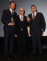 SANTA BARBARA, CA - FEBRUARY 06: Leonardo DiCaprio, Martin Scorsese, Jonah Hill at the 29th Santa Barbara International Film Festival - Honoring Martin Scorsese And Leonardo DiCaprio With The Cinema Vanguard Award held at Arlington Theatre on February 6, 2014 in Santa Barbara, California. (Photo by Xavier Collin/Celebrity Monitor)